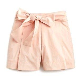 J.Crew NWT Tie-waist short cotton poplin Blush  6